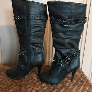 Black Heeled Boots With Buckle and Stud Details